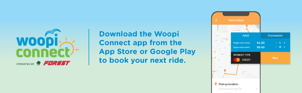 In Woolgoolga and need a bus? Download the Woopi Connect app from Google Play or the App Store.